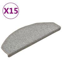 vidaXL Treppenmatten 15 Stk. Hellgrau 65x24x4 cm