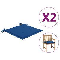 vidaXL Gartenstuhl-Sitzkissen 2 Stk. Königsblau 50x50x4 cm Stoff