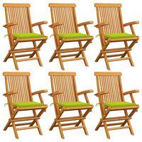 vidaXL Gartenstühle mit Hellgrünen Kissen 6 Stk. Massivholz Teak