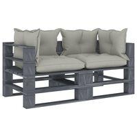 vidaXL Garten-Palettensofa 2-Sitzer mit Taupe-Kissen Holz