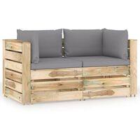 vidaXL 2-Sitzer-Gartensofa mit Kissen Grün Imprägniertes Holz