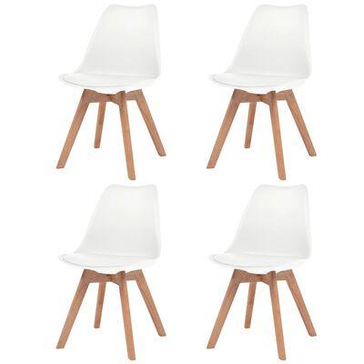 vidaXL Esszimmerstühle 4 Stk. Weiß Kunstleder