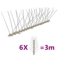 vidaXL 6-tlg. Vogelabwehr-Spikes-Set 3 m Kunststoff 4-reihig