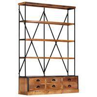 vidaXL Bücherregal 4 Ebenen 6 Schubladen 122×36×181 cm Massivholz