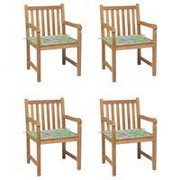 vidaXL Gartenstühle 4 Stk. mit Blattmuster Kissen Massivholz Teak