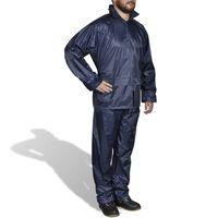 Blaue Regenbekleidung für Männer 2-teilig mit Kapuze Größe M