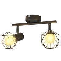 Deckenstrahler Industrie-Stil Drahtgestell + 2 LED-Glühlampen schwarz
