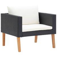vidaXL 1-Sitzer-Gartensofa mit Auflagen Poly Rattan Schwarz