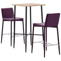 vidaXL 3-tlg. Bar-Set Kunstleder Lila, Purple