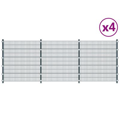 vidaXL Zaunfelder 4 Stk. Eisen 6 x 2 m 24 m (Gesamtlänge) Anthrazit