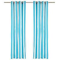 vidaXL Vorhänge mit Metallösen 2 Stk. Stoff 140 x 245 cm Blau Streifen