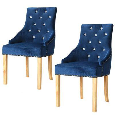 vidaXL Esszimmerstühle 2 Stk. Blau Eiche Massivholz und Samt