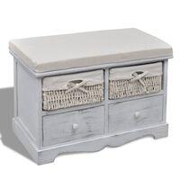 vidaXL Sitzbank mit Stauraum Weiß 62×33×42 cm Paulownia Holz