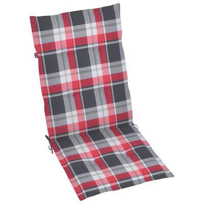vidaXL Garten-Liegestühle mit Kissen 8 Stk. Massivholz Teak, Redcheckpattern