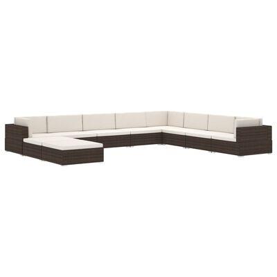 vidaXL Modular-Sofa-Mittelteil 1 Stk. + Auflagen Poly Rattan Braun