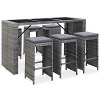 vidaXL 7-tlg. Gartenbar-Set mit Auflagen Poly Rattan Grau