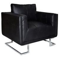 vidaXL Würfel-Sessel mit verchromten Füßen Schwarz Kunstleder