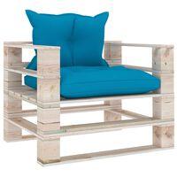vidaXL Garten-Palettensofa mit Blauen Kissen Kiefernholz