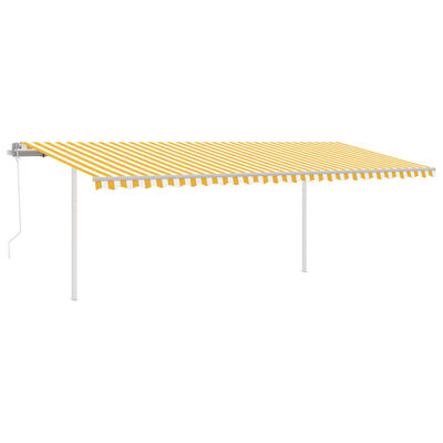 vidaXL Gelenkarmmarkise Automatisch mit Pfosten 6x3 m Gelb und Weiß