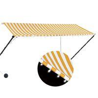 vidaXL Einziehbare Markise mit LED 300×150 cm Gelb und Weiß