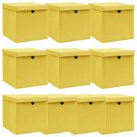vidaXL Aufbewahrungsboxen mit Deckel 10 Stk. Gelb 32×32×32cm Stoff