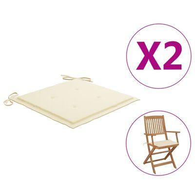 vidaXL Gartenstuhl-Sitzkissen 2 Stk. Creme 40x40x4 cm Stoff