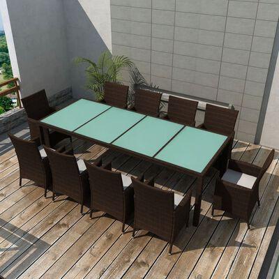 vidaXL 11-tlg. Garten-Essgruppe mit Auflagen Poly Rattan Braun
