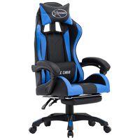 vidaXL Gaming-Stuhl mit Fußstütze Blau und Schwarz Kunstleder