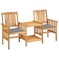 vidaXL Gartenstühle mit Teetisch und Kissen Akazie Massivholz