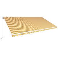 vidaXL Einziehbare Markise Handbetrieben 600 x 300 cm Gelb und Weiß
