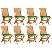 vidaXL Gartenstühle mit Grünen Kissen 8 Stk. Massivholz Teak