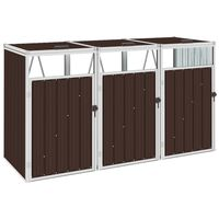 vidaXL Mülltonnenbox für 3 Mülltonnen Braun 213×81×121 cm Stahl