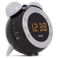 Nikkei Projektionsuhr mit UKW-Radio NR280P Schwarz