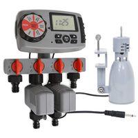 vidaXL Automatische Bewässerungsuhr 4-fach mit Regensensor 3V