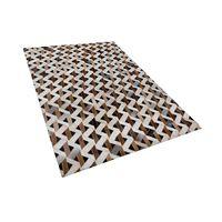 Teppich Leder Braun/grau 140 X 200 Cm Tuglu