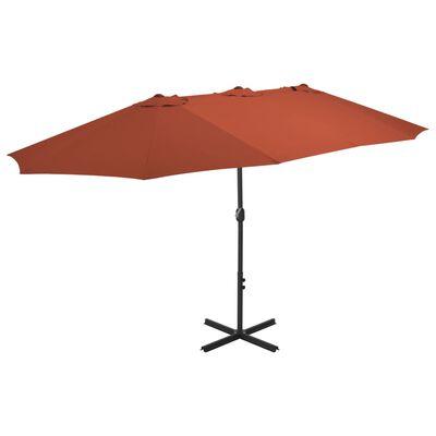 vidaXL Sonnenschirm mit Aluminium-Mast 460x270 cm Terracotta-Rot