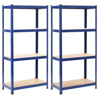 vidaXL Lagerregale 2 Stk. Blau 80 x 40 x 160 cm Stahl und MDF