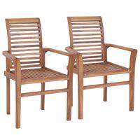 vidaXL Esstischstühle 2 Stk. Stapelbar Teak Massivholz