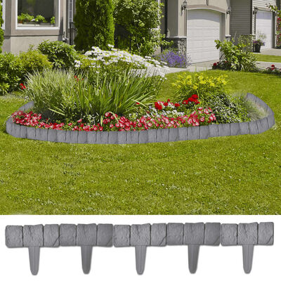 Kunststoff Garten- / Rasenzaun  Steinoptik 41 tlg. 10 m