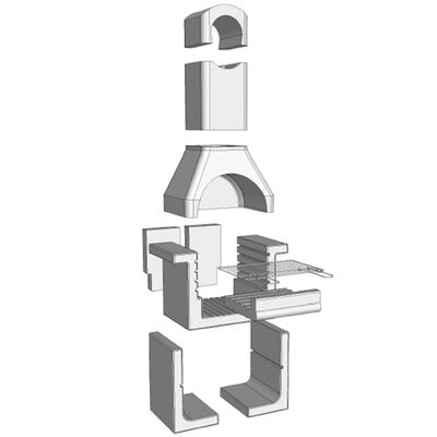 vidaXL Holzkohle-Grillkamin aus Beton mit Rauchabzug