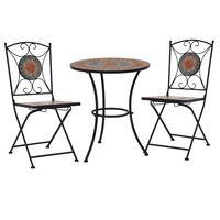 vidaXL 3-tlg. Bistro-Set Mosaik Keramik Orange / Grau