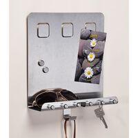 HI Schlüsselboard mit Memoboard Silbern 28,5x25x8 cm