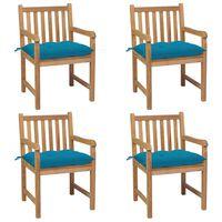 vidaXL Gartenstühle 4 Stk. mit Hellblauen Kissen Massivholz Teak