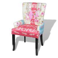 vidaXL Französischer Stuhl mit Patchwork-Design Stoff