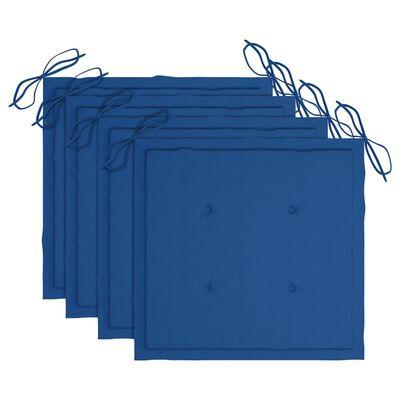 vidaXL Gartenstühle 4 Stk. mit Königsblauen Kissen Massivholz Teak