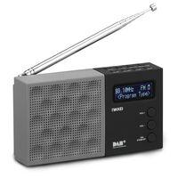 Nikkei Taschenradio DAB mit Wecker NDB30BK Grau und Schwarz
