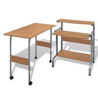 Computertisch Schreibtisch Computerwagen PC Tisch Bürotisch Braun