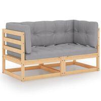 vidaXL 2-Sitzer-Gartensofa mit Kissen Kiefer Massivholz
