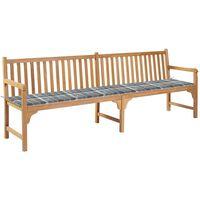 vidaXL Gartenbank mit Auflage Grau Karomuster 240 cm Massivholz Teak
