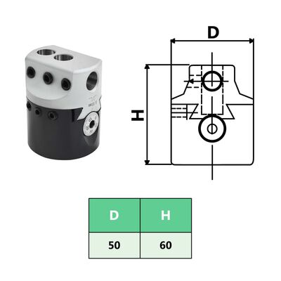 vidaXL 50 mm Bohrkopf mit MT2 Bohrschaft zum Drehfräsen,